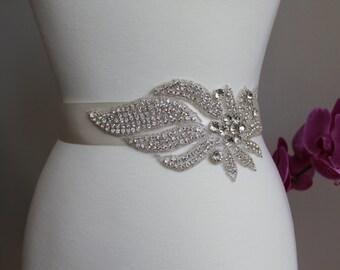 Elegant and gorgeous rhinestone trim and detailed bridal sash, wedding sash, rhinestone belt, bridal belt, rhinestone applique