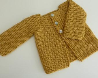 cotton merino cozy cardigan -  handmade baby knits - baby sweater - newborn cardigan - baby knits  - cotton baby - merino baby knits