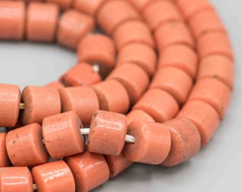 Old Coral Glass African Olumbo Trade Beads 12mm 48 beads SKU-CORALTB-1