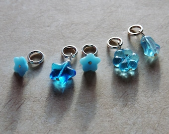 Glass beaded stitch marker set of 5 flower star butterfly