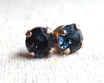 Swarovski Crystal Dark Navy Blue Brilliant Diamond Cut Round Rhinestone Rose Gold Plated Minimalist Post Bridal Earrings Bridesmaids Gifts