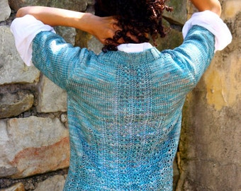 Knitting Pattern for Climbing Lace Women's V Neck Buttoned Cardigan Jumper in Worsted Weight via PDF
