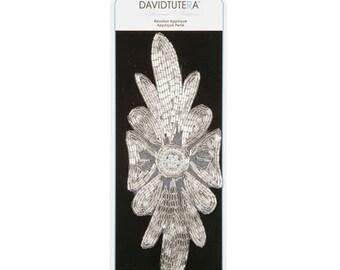 David Tutera Pearl and Bead Flower Petal Applique, 7.5-Inch