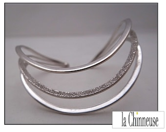 """MODERN Sterling Silver CUFF BRACELET / Triple """"Wave"""" Bracelet / cufflinks Vintage silver / Silver 3 wave cuff / Collectible."""