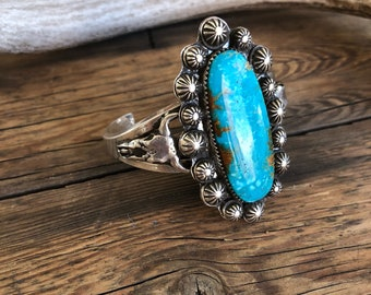Handmade, Rustic, Sterling Silver, .925, Cripple Creek Turquoise, Concho, Cuff, Bracelet