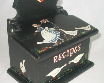 Unique Wood Recipe Box Handcrafted Handpainted Country Black Halloween Goose Girl Black White Blue