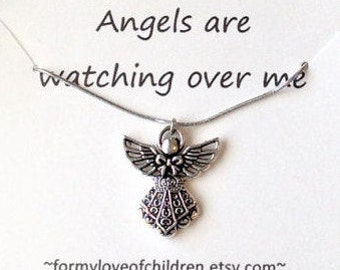 angel necklace angel jewelry guardian angel silver angel pendant granddaughter gift child necklace little girl jewelry girls angel necklace