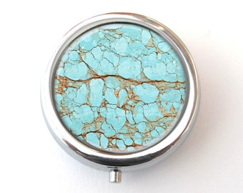 Pill Box, Turquoise Design Pill Case, Useful Gift
