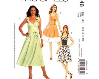 Fit & Flare Dress Pattern McCalls 5846 Laura Ashley Midriff Band Dress Contrast Hem Womens Size 6 8 10 12 14 Sewing PatternUNCUT