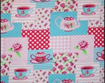 """NEW Tea time on cotton lycra knit fabric 95/5 58"""" wide."""
