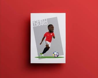 Romelu Lukaku, Manchester United Illustrated Poster Print | A6 A5 A4 A3