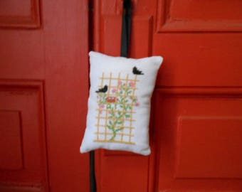 Rose and birds - hand embroidered Lavender sachet