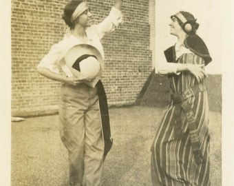 vintage photo 1917 Young Women Costume Dance On rooftop