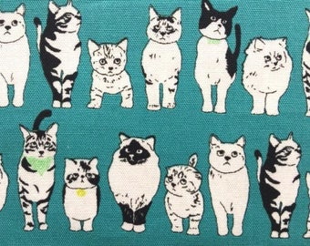 Japanese children Sevenberry fabric - Cotton - cats in the bandana - by 50cm (110 x)