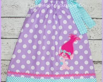 Sweet Poppy Troll  Purple Polka dot pillowcase style dress