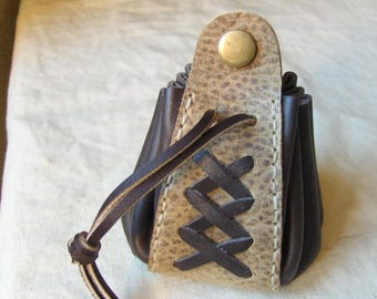 Medieval natural brown leather purse handmade