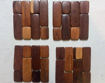 Set of Four Mixed Wood Coasters