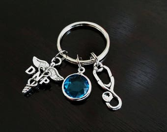 DNP Doctor of Nursing Practice Gift Personalized Crystal Birthstone and Stethoscope Key Chain Key Ring