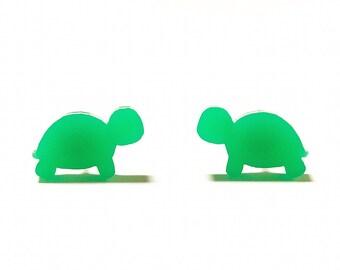 Green Turtle Stud Earrings, Turtle Studs, Turtle Jewelry, Green Mini Turtles, Titanium Earrings, Cute Fun Earrings, Animal Stud Earrings