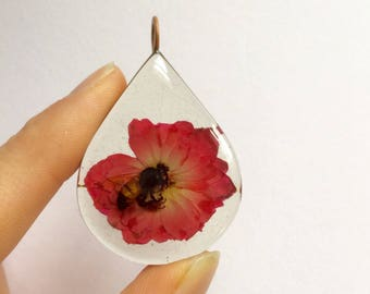 Real Honey Bee and flower pendant- resin copper teardrop rose flower nature inspired gifts
