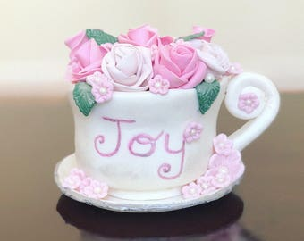 Fondant Tea Cup, Custom Flowers in Tea Cup, Bouquet in Tea Cup, Tea Party Cake Topper, Custom