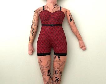 Tattooed Lady doll curvy retro circus toile plush Skeleton tattoos Day of the Dead