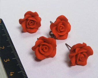 Set of 2 medium red rose earring