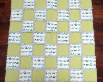 Sweet Turtle Baby Rag Quilt 36x48 Inches All Cozy Flannel