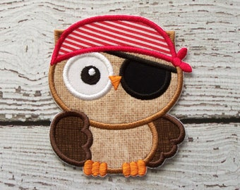 Pirate Owl Iron On Or Sew On Applique