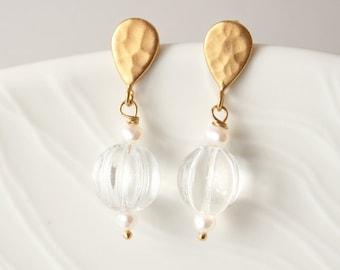 Glass Earrings, Gold Wedding Earrings, Bridesmaid Earrings, Post Earrings