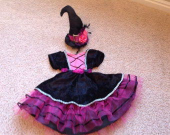 Infant Toddler Girls Halloween Witches Costume Dress, Pink, Available in Sz 12 month to 4 T