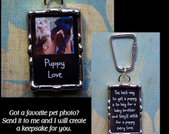 Soldered Glass Photo Keychain, Memory Pendant, Two sided picture charm, Made with your photo and wording, Mother's day gift