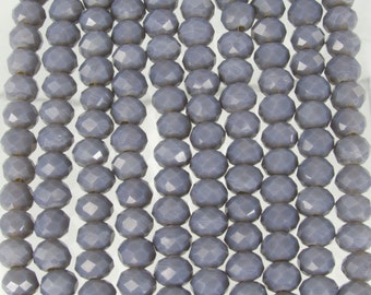 6x5mm Faceted Opaque Dark Gray Chinese Crystal Rondel Beads 9 Inch Strand (6CCS20)