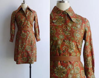 Vintage 70's Red Baroque Tile Print Preppy Collared Shirt Dress XS or S