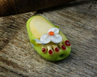 Lampwork Glass Flip Flop Bead with Tiny Painted Toes