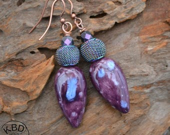 Purple Ceramic mesh and czech glass earrings