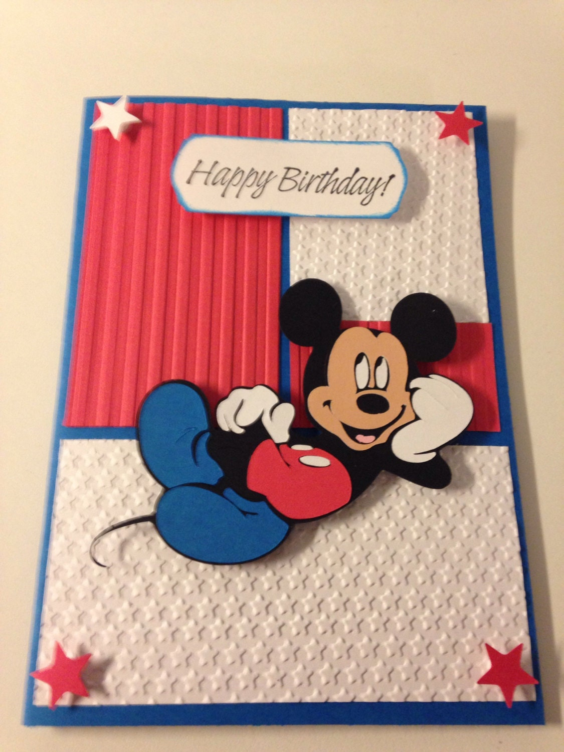 Patriotic Mickey Mouse Handmade Birthday Greeting Card With Envelope