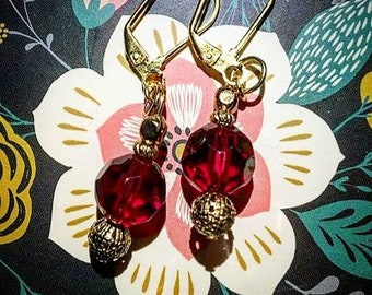 Ruby Crystal Inspired Drop Earrings