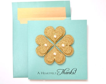 """Thank You Greeting Card: """"Golden Hearts"""""""
