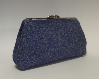 Blue Color Clutch with Nickel Hardware