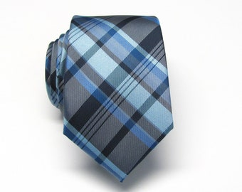 Mens Ties Navy Blue Black Plaid Mens Neckties. Silk Tie with Matching Pocket Square Option