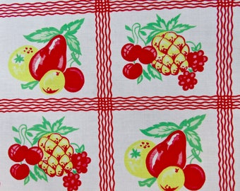 Fruit Vintage Cotton Tablecloth in Red, Green, & Yellow /Table Topper /Luncheon Cloth/ Bananas, Pears, Pineapples, Cherries, Grapes, Oranges