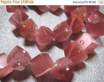 ON SALE 20% OFF Pink Cat's Eye w/ Rhinestone Cubes Beads 38pcs