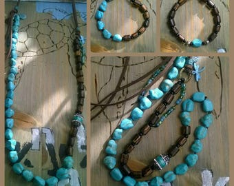 Long necklace turquoise beads leather band