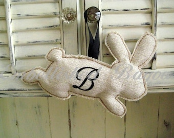 Personalized Burlap Bunny for home or wreath decorating, Large Running Bunny Silhouette