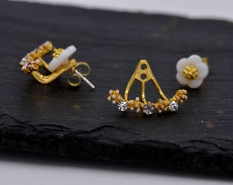 Gold Plated Sterling Silver Cherry Blossom Flower  Design Ear Jacket Earrings  Y28
