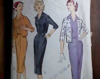 "1950s Dress & Cardigan - 38"" Bust - Advance 8679 - Vintage Sewing Pattern"