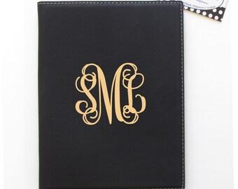 "Small Monogrammed Portfolio - Black - 7"" x 9"" - Small Leatherette Personalized Portfolio -Monogrammed Portfolio"