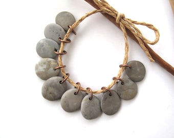 Rock Beads Small Mediterranean Natural Stone River Stone Jewelry Supplies Pairs Copper GREY CHARMS 15-17 mm