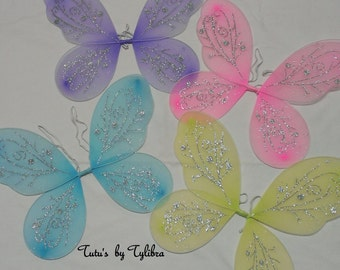 Fairy Wings, Glitter Fairy Wings, Costume Wings, Butterfly Wings, Tinkerbell Wings, Fairy Princess Wings, Party Favors, Child Fairy Wings